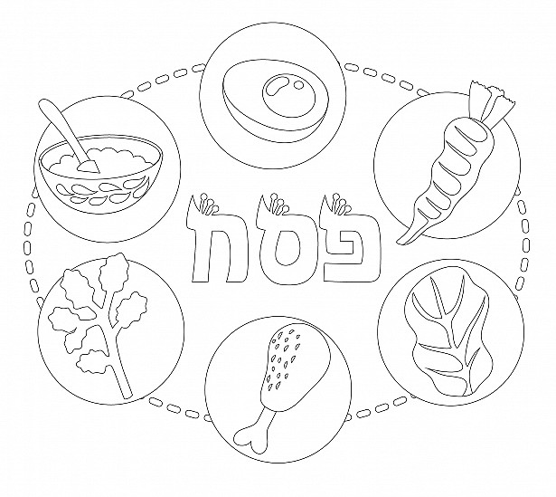 The Seder Plate - Coloring Page
