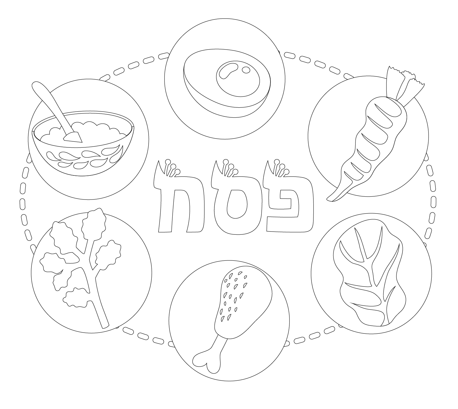 the seder plate coloring page make your own passover haggadah haggadotcom