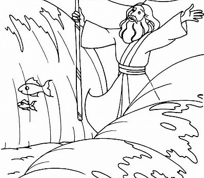 Coloring Page Moses Parts The Red Sea