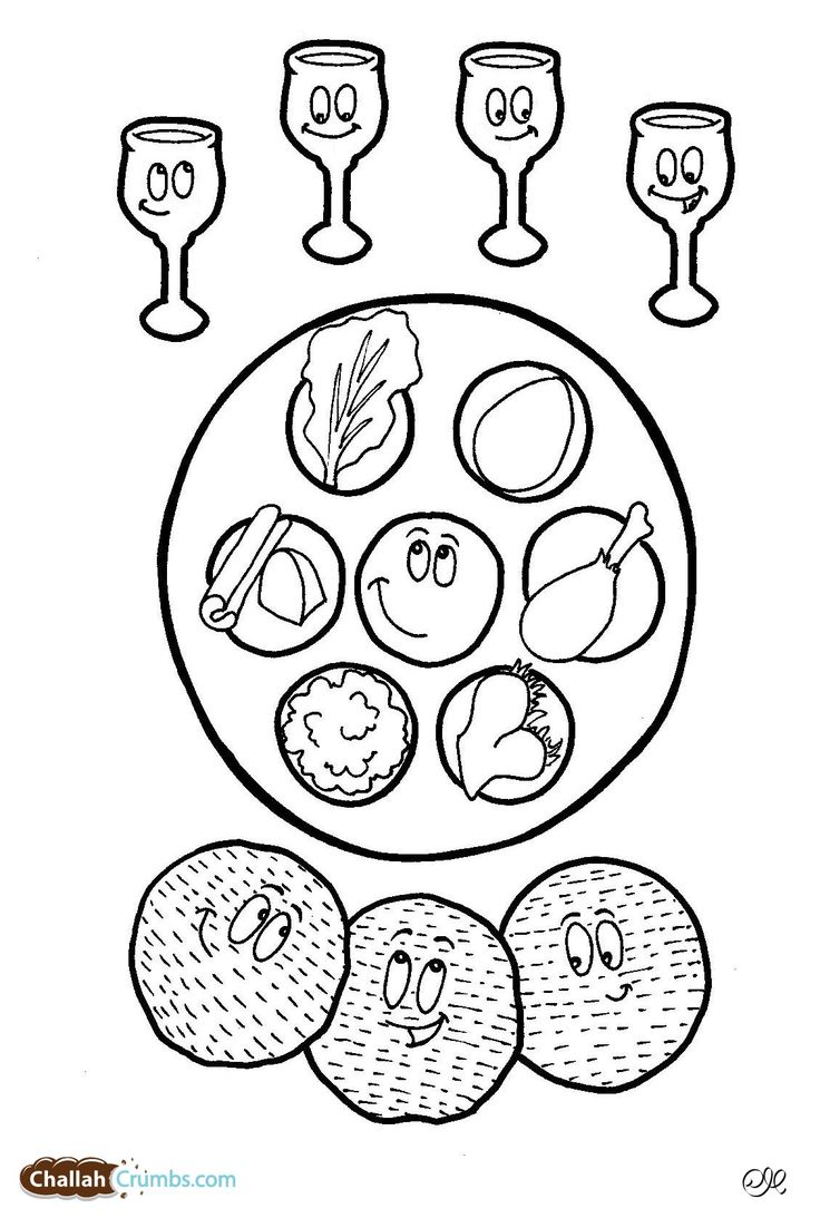 Four Cups of Wine Coloring Page