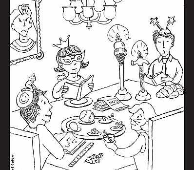 Four Children Coloring Page