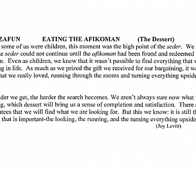 Eating the Afikoman