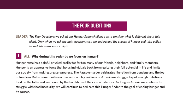 Why during this seder do we focus on hunger?