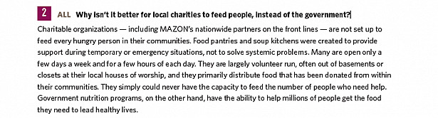 Why isn't it better for local charities to feed people, instead of the government?