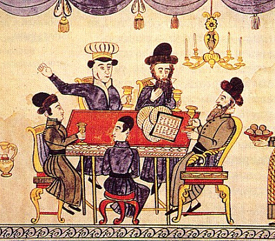 Jews Celebrating Passover. Lubok, XIXth century.
