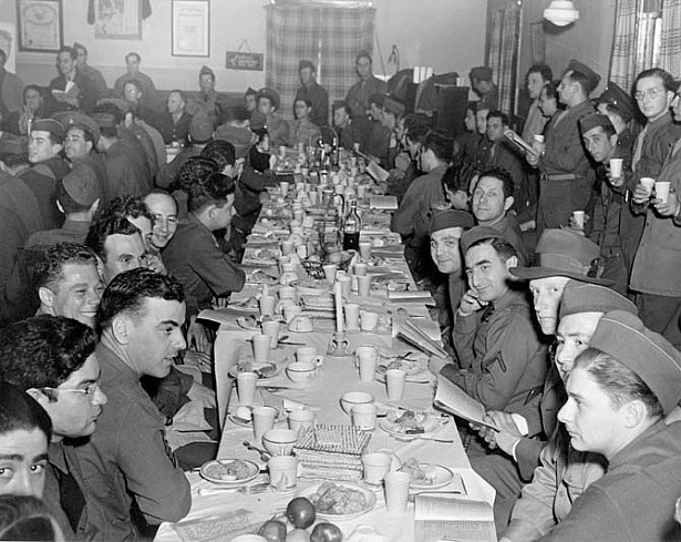 The Seder, circa 1943, held in Europe during WWII